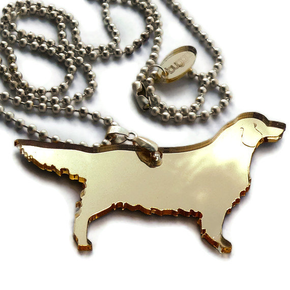 Golden Retriever Necklace,Plexiglass Jewelry,Lasercut Acrylic,Gifts Under 25