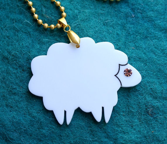 Lamb Necklace,Plexiglass Jewelry,Lasercut Acrylic,Gifts Under 25